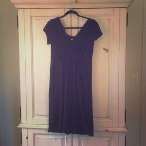 Cross front black dress